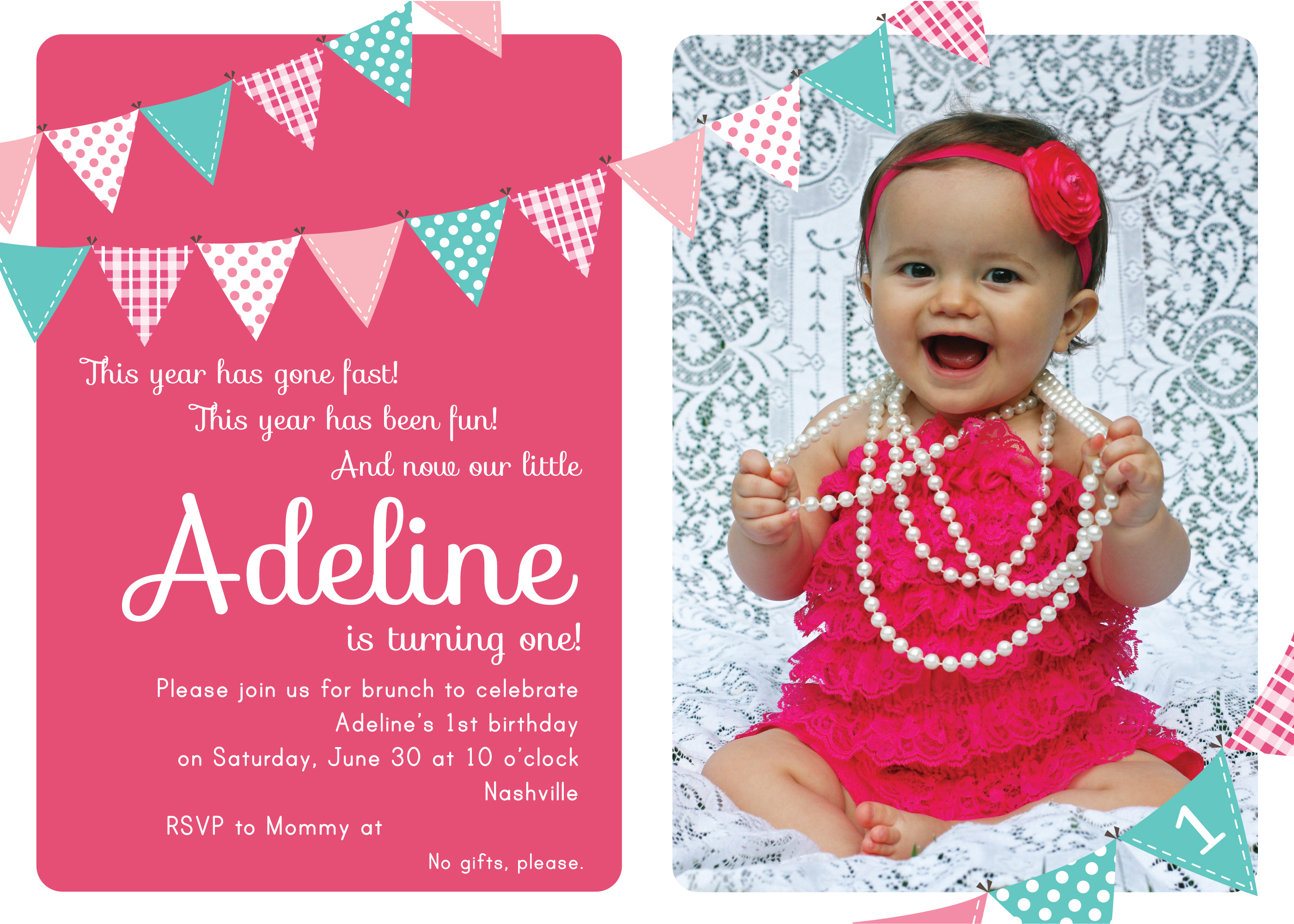Adeline\'s 1st Birthday Party: Pom Poms, Pennants and Pinwheels - The ...