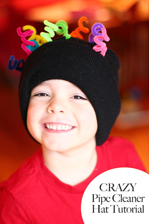 Crazy hat tutorial using a stocking cap + pipe cleaners
