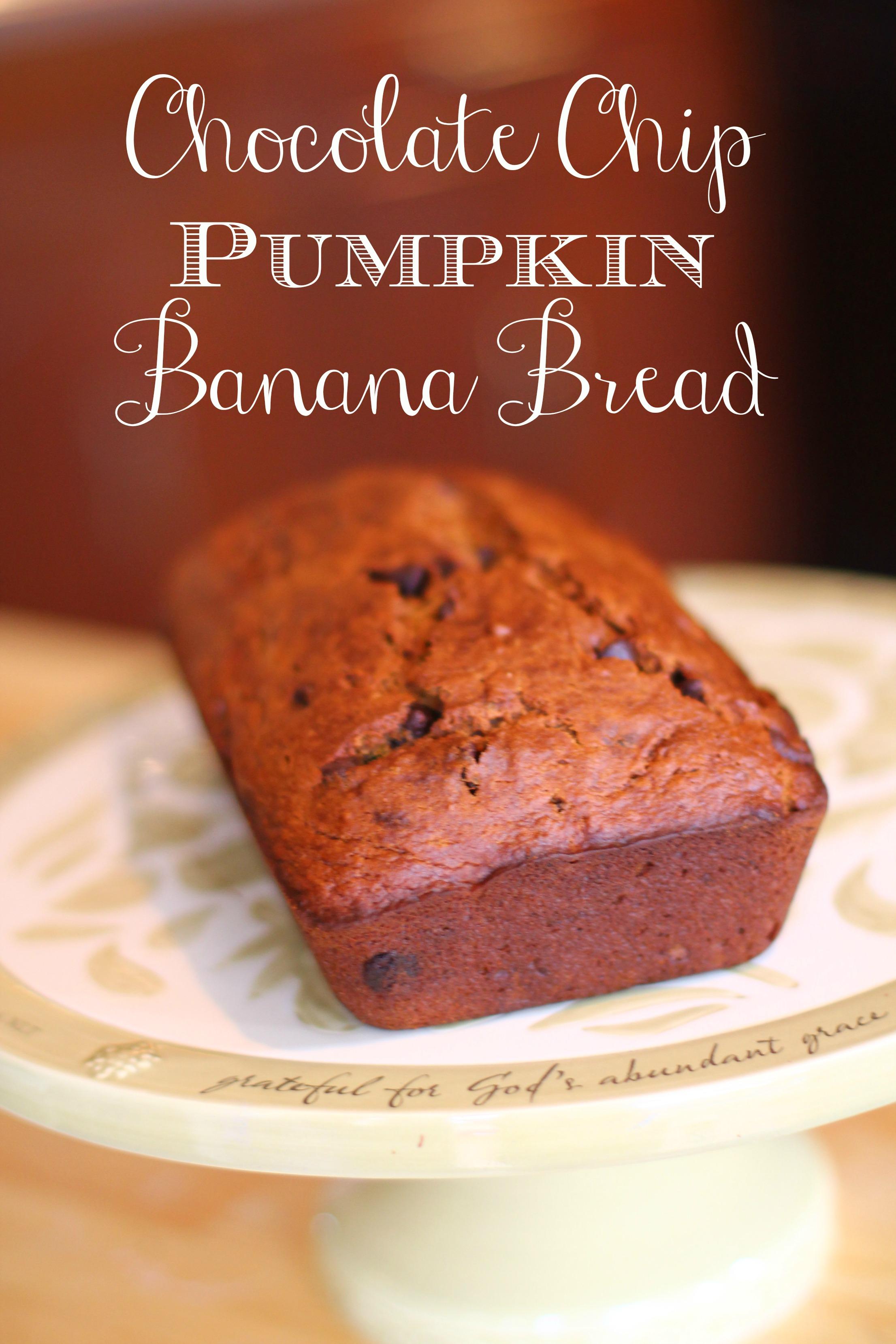 Easy Chocolate Chip Pumpkin Banana Bread - The Mom Creative