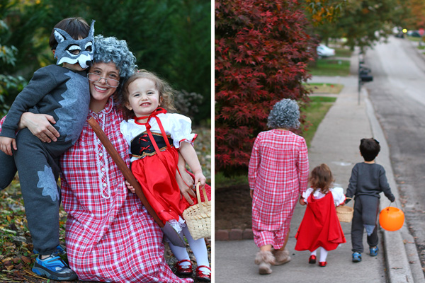 trick or treating with red riding hood and wolf