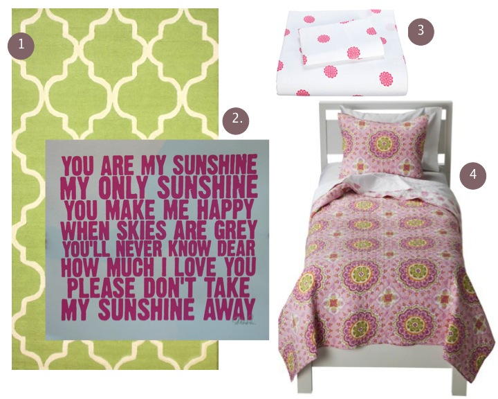 Green & Pink Bedroom Decor