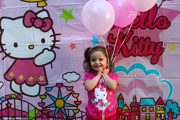 Hello Kitty Birthday Party with Hello Kitty photo backdrop