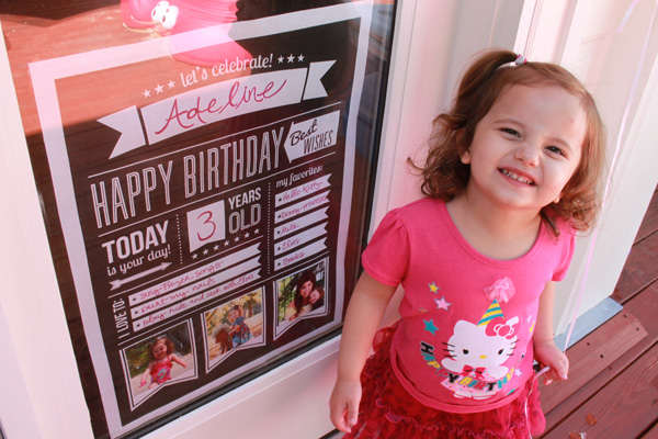 Hello Kitty birthday outfit and sign