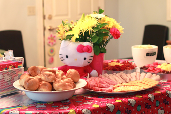 Hello Kitty Party table decorations and food