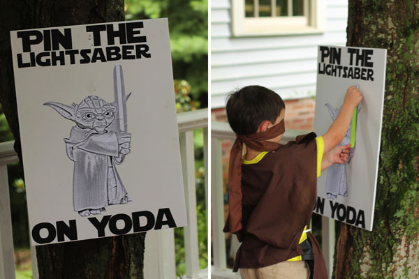 Star Wars birthday party game pin the light saber on Yoda