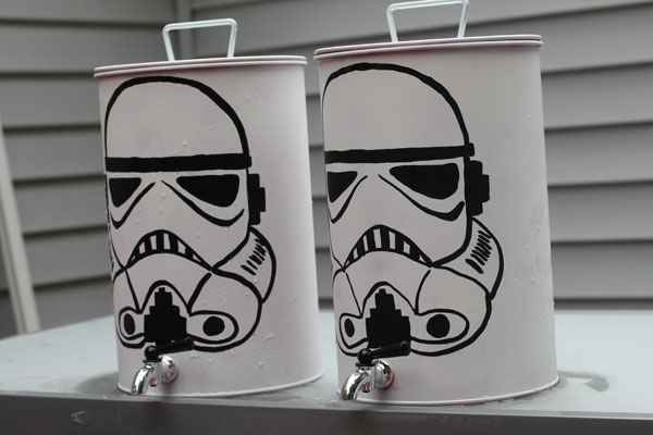 Star Wars Party with custom Storm Trooper Drink Canisters for Storm Trooper Refueling Station