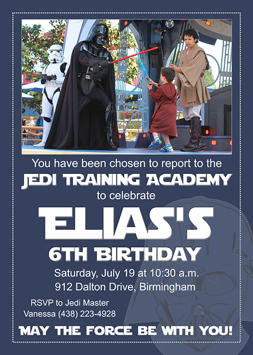 Star Wars Birthday Party With Jedi Training Academy - Star wars birthday invitation diy