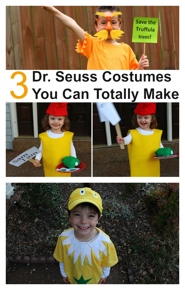 3 Dr. Seuss costumes you can totally make Lorax costume, Star-Bellied Sneetch Costume and Sam I Am costume. Awesome book character costumes
