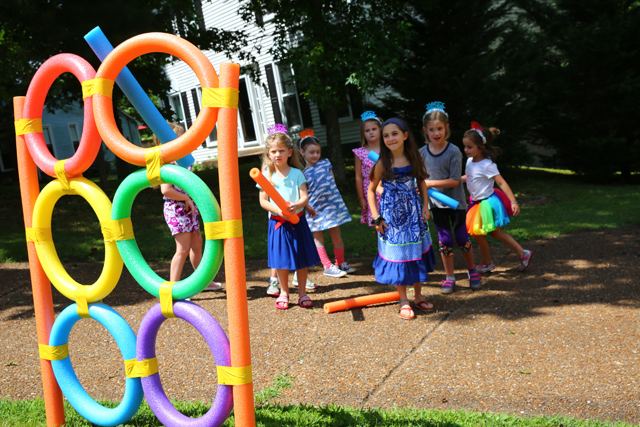 Rainbow Ring Toss for Rainbow party games